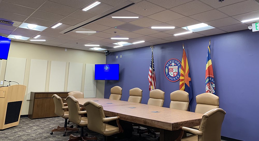 Council Chamber Meeting room, Conference Table with Flex-T Lighting Fixtures